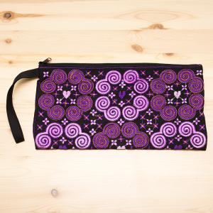 モン族の大きめ刺繍ポーチ(ピンク)/渦巻き/エスニック/タイ民族雑貨