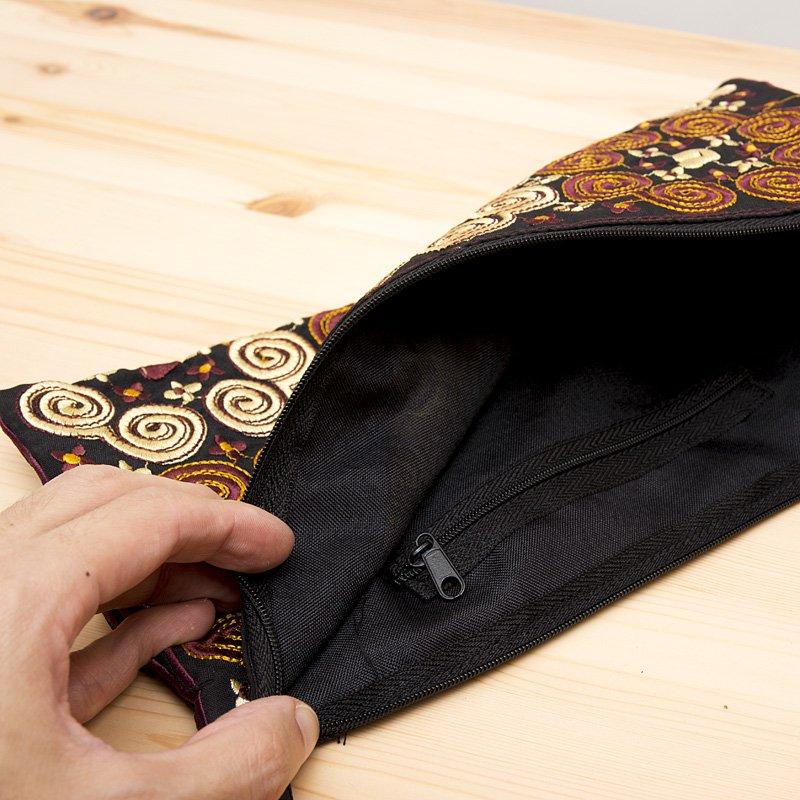 画像4:モン族の大きめ刺繍ポーチ(ゴールド)/渦巻き/エスニック/タイ民族雑貨