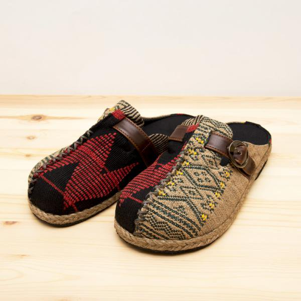 ナガ族刺繍のサボサンダル(ベージュxグリーン)/ハンドメイド/民族雑貨