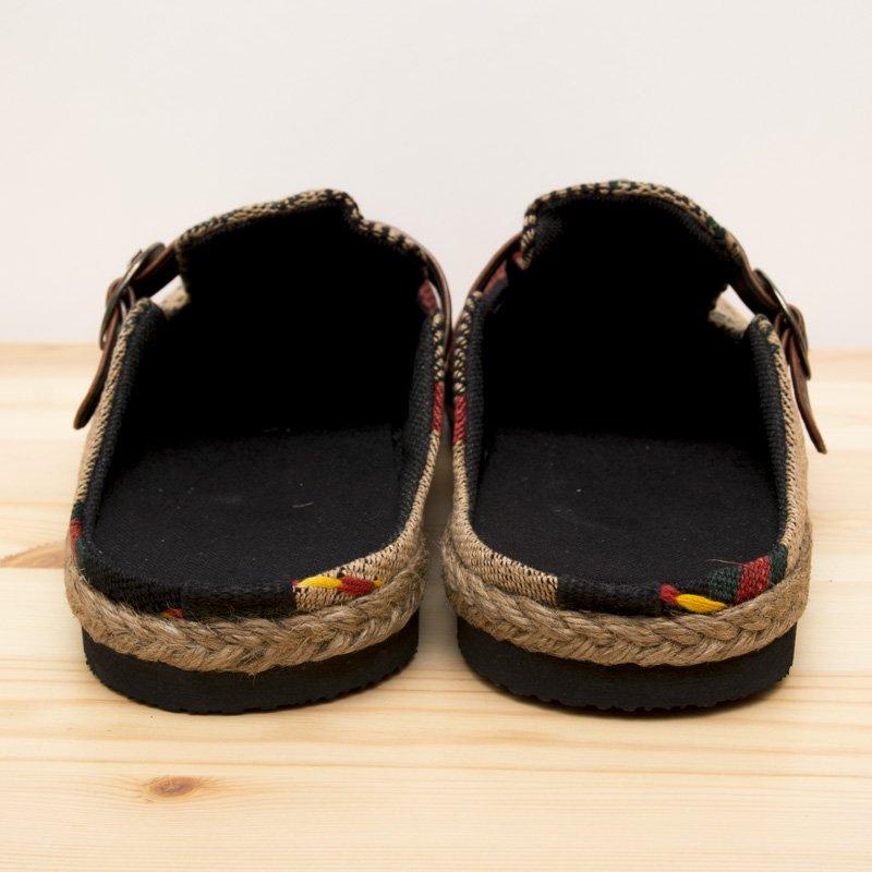 画像2:ナガ族刺繍のサボサンダル(ベージュxグリーン)/ハンドメイド/民族雑貨
