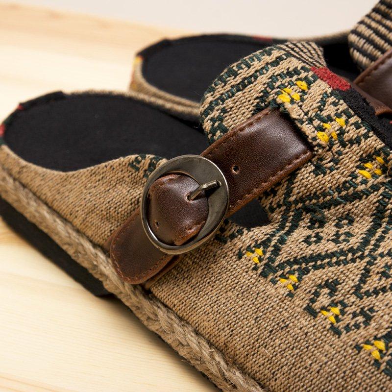 画像3:ナガ族刺繍のサボサンダル(ベージュxグリーン)/ハンドメイド/民族雑貨
