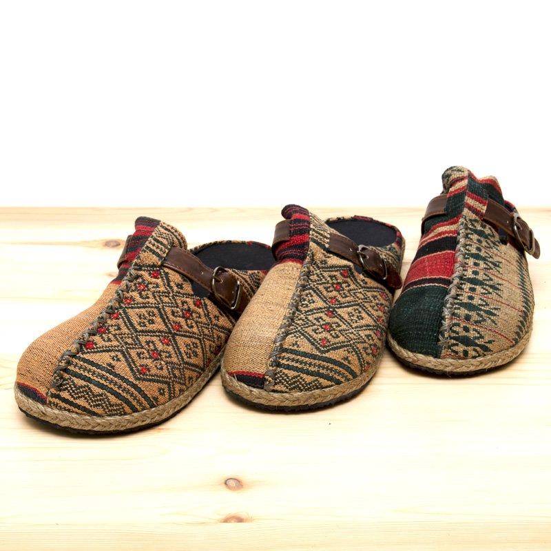 画像4:ナガ族刺繍のサボサンダル(ベージュxグリーン)/ハンドメイド/民族雑貨