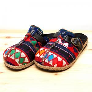 アカ族刺繍のサボサンダル/ハンドメイド/タイ民族雑貨