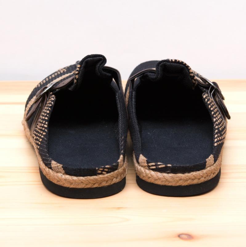画像3:ナガ族刺繍のサボサンダル(ブラック)/ハンドメイド/民族雑貨