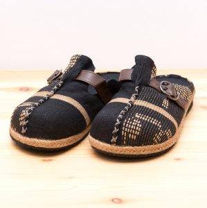 ナガ族手織り布のサボサンダル(ブラック)