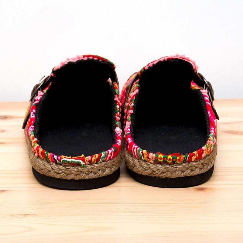 モン族刺繍のサボサンダル(ピンク)/ヴィンテージ/民族雑貨
