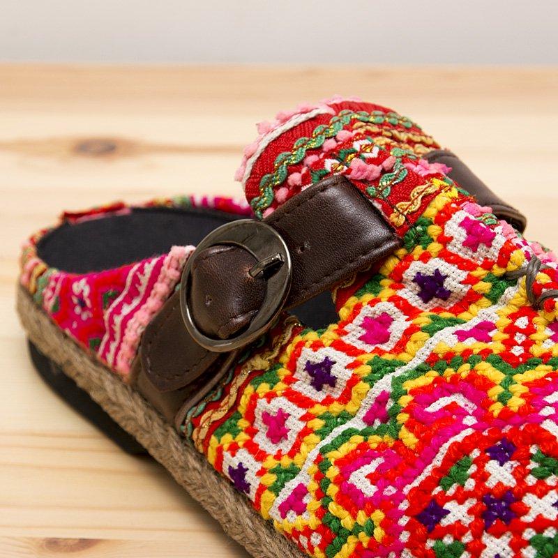 画像3:モン族刺繍のサボサンダル(ピンク)/ヴィンテージ/民族雑貨