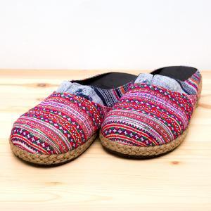 モン族刺繍のサボサンダル(レディス)/ろうけつ染め/民族雑貨
