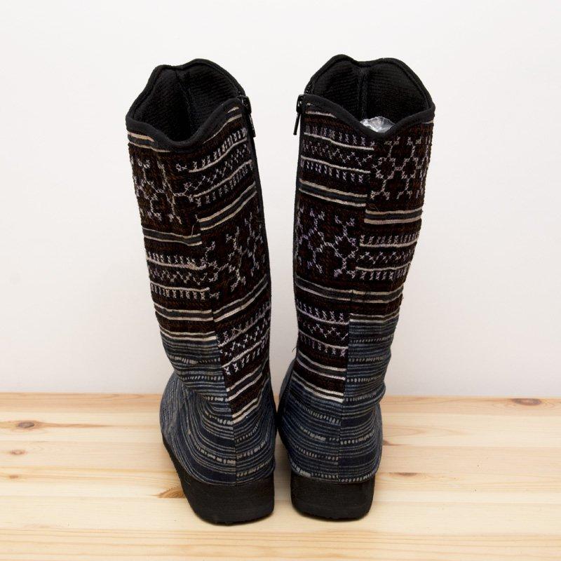 画像2:モン族刺繍ミディアムブーツ(M)/ベトナム刺繍/タイ民族雑貨