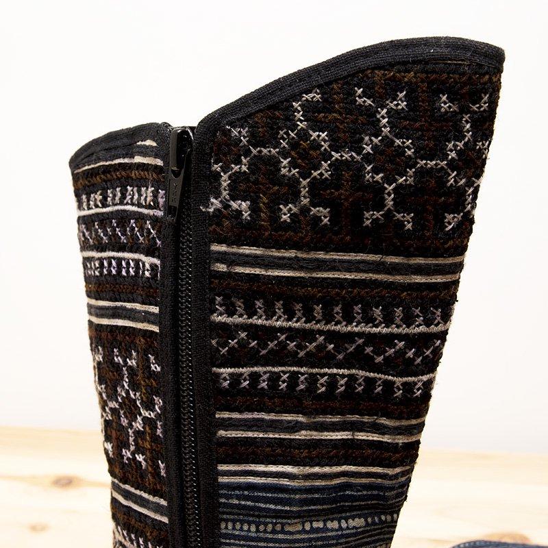 画像4:モン族刺繍ミディアムブーツ(M)/ベトナム刺繍/タイ民族雑貨