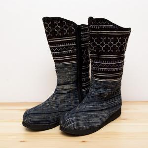 モン族刺繍ミディアムブーツ(M)/ベトナム刺繍/タイ民族雑貨