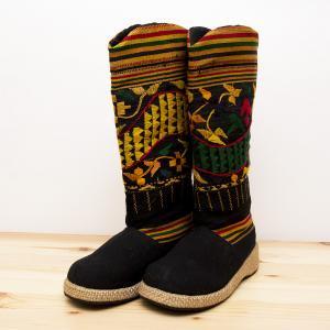 タイ・ルー族刺繍のロングブーツ(M)