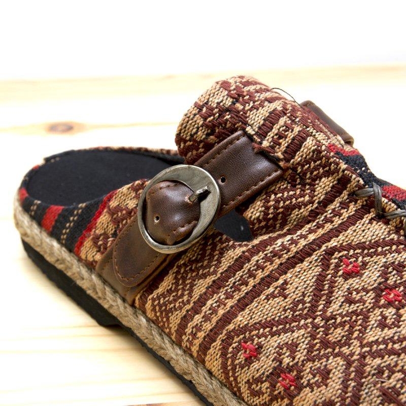 画像3:ナガ族刺繍のサボサンダル(ベージュxレッド)/ハンドメイド/民族雑貨