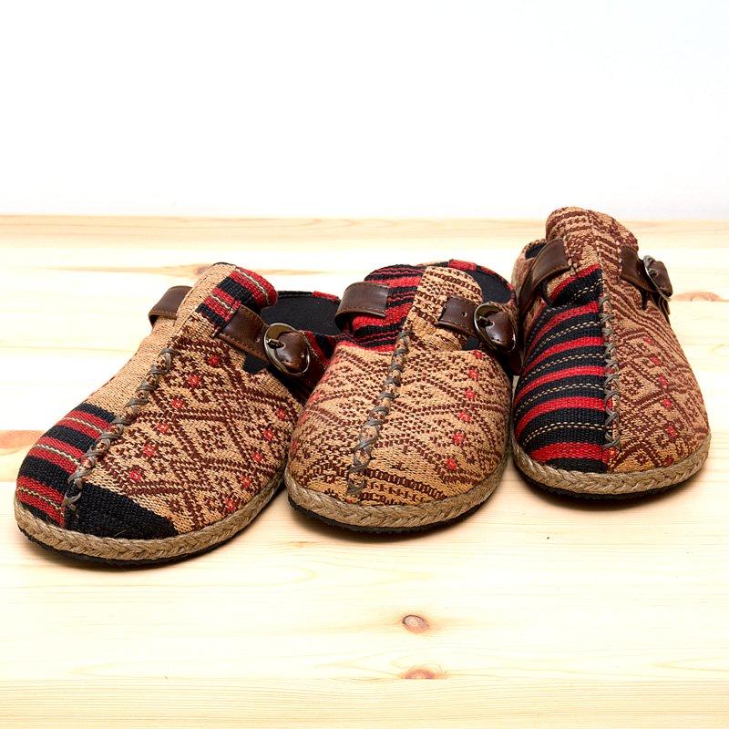 画像4:ナガ族刺繍のサボサンダル(ベージュxレッド)/ハンドメイド/民族雑貨