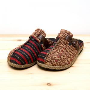 ナガ族手織り布のサボサンダル(ベージュxレッド)