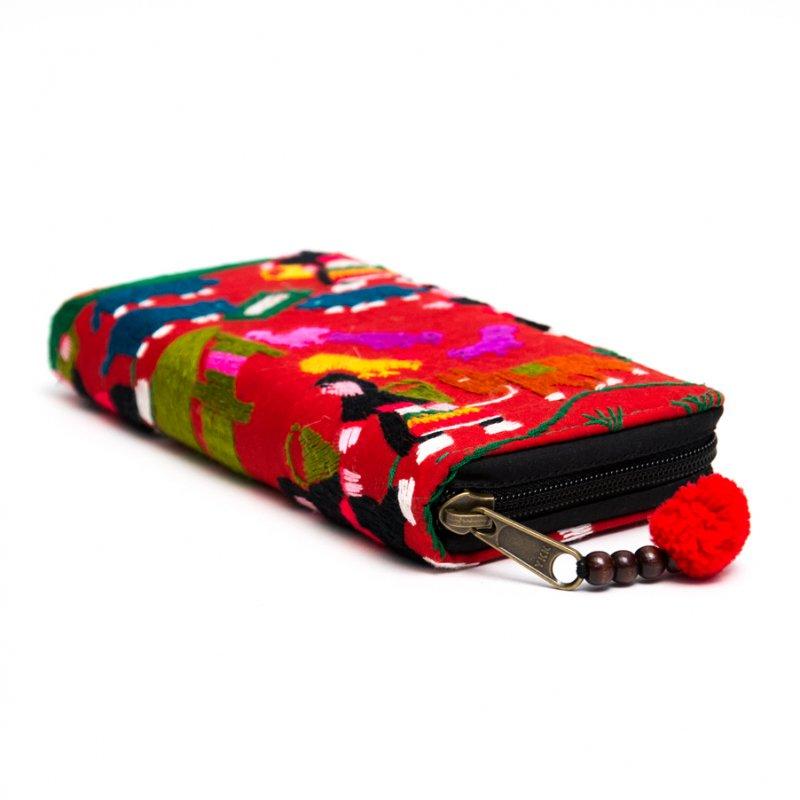 画像2:ラオス モン族のイラスト刺繍長財布