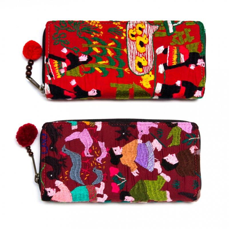 画像4:ラオス モン族のイラスト刺繍長財布