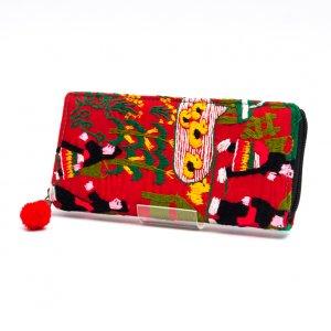 ラオス モン族のイラスト刺繍長財布 Type.1