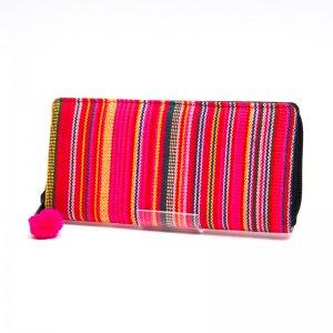 モン族 カラフル刺繍のラウンドファスナー長財布