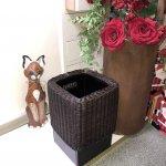 天然木とラタンで作られたゴミ箱/正方形・長方形