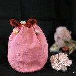【当社オリジナル】和風高級ちりめん巾着ポーチ 桜色
