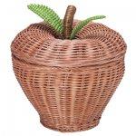 籐のりんご型小物入れ
