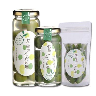 「太陽のこども達」自家栽培手摘み・国産オリーブ新漬け/瓶(大粒実)75g