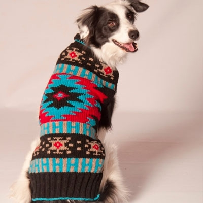 【Chilly Dog Sweaters】ウール100% ドッグセーター Black Southwest Shawl Dog Sweater