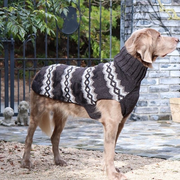 【Chilly Dog Sweaters】ウール100% ドッグセーター Grey Diamonds Dog Sweater