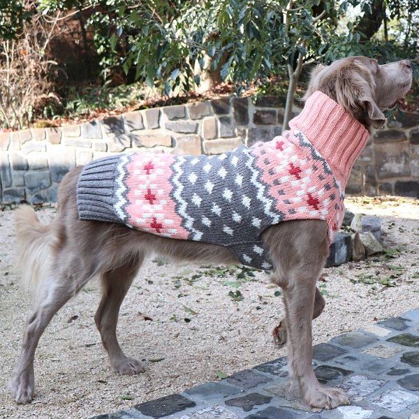 【Chilly Dog Sweaters】ウール100% ドッグセーター Peach Fairisle Dog Sweater