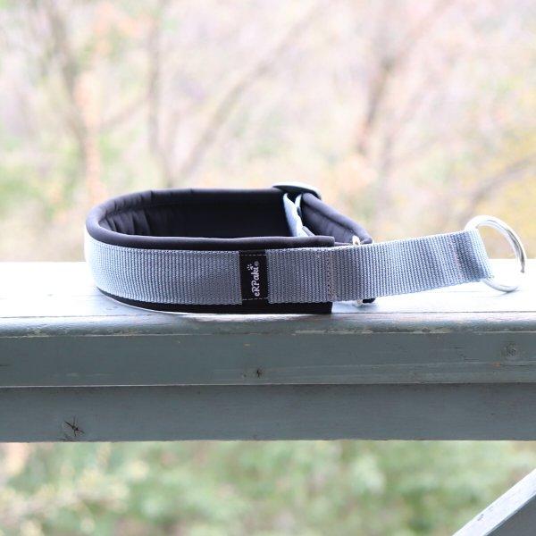 【eRPaki】 ドイツ製ハーフチョークカラー 4.0cm幅 (テープ幅30mm) Medium gray×Black ★レターパックOK★