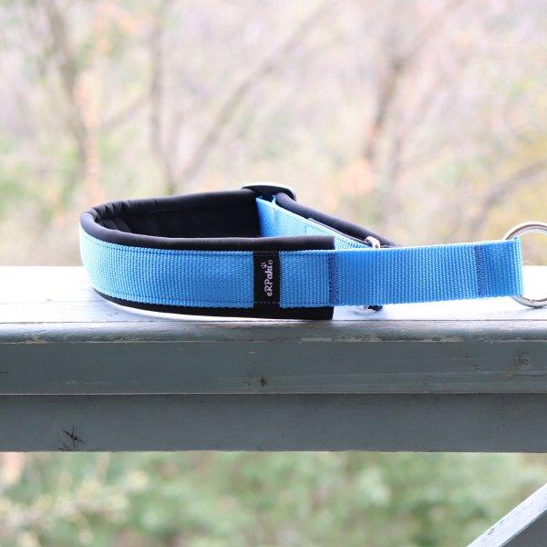 【eRPaki】 ドイツ製ハーフチョークカラー 4.0cm幅 (テープ幅30mm) Light blue×Black ★レターパックOK★