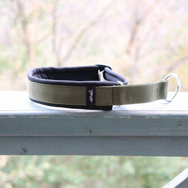 【eRPaki】 ドイツ製ハーフチョークカラー 4.0cm幅 (テープ幅30mm) Olive×Black ★レターパックOK★