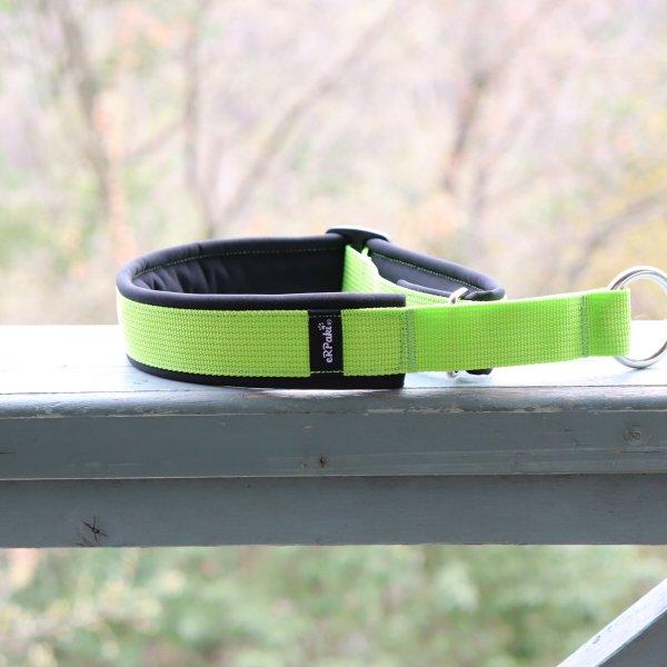 【eRPaki】 ドイツ製ハーフチョークカラー 4.0cm幅 (テープ幅30mm) Lime green×Black ★レターパックOK★