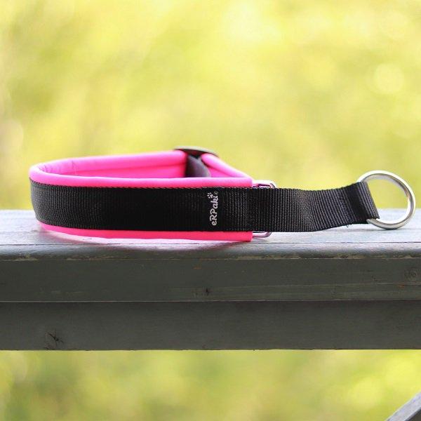 【eRPaki】 ドイツ製ハーフチョークカラー 4.0cm幅 (テープ幅30mm) Black×Neon pink ★レターパックOK★