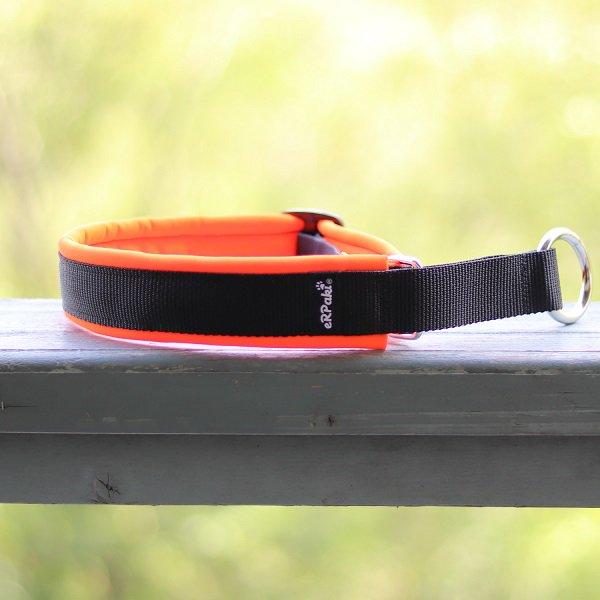 【eRPaki】 ドイツ製ハーフチョークカラー 4.0cm幅 (テープ幅30mm) Black×Neon orange ★レターパックOK★