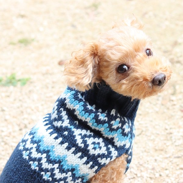 【Chilly Dog Sweaters】ウール100% ドッグセーター Navy Nordic Dog Sweater
