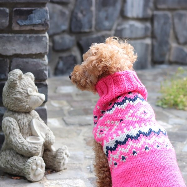 【Chilly Dog Sweaters】ウール100% ドッグセーター Pink Nordic Dog Sweater