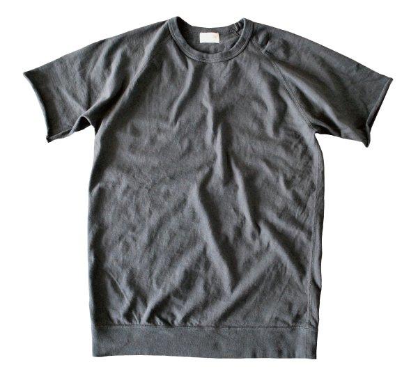 ムラ糸吊り編み天竺ラグランクルーネックT シャツ