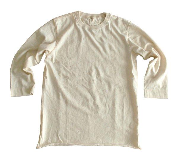 ムラ糸吊り編み天竺八分袖クルーネックT シャツ