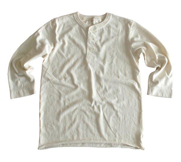 ムラ糸吊り編み天竺八分袖ヘンリーネックT シャツ