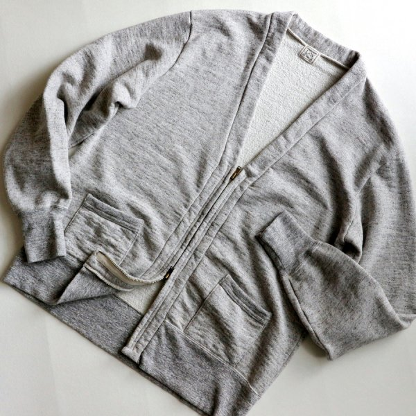 VINTAGE SLUB COTTON DOUBLE ZIP CARDIGAN