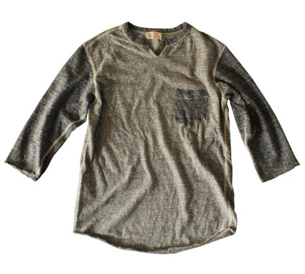リサイクルムラ糸杢天竺Tシャツ スキッパーネック七分袖