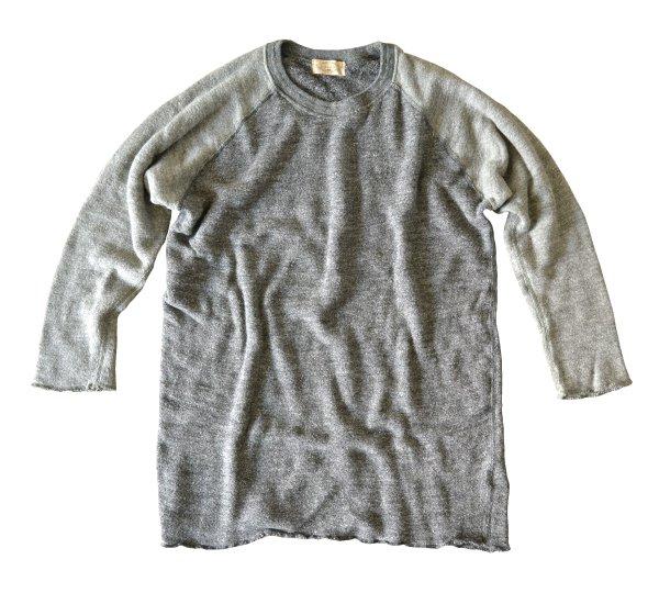 ムラ糸杢ロングパイルクルーネック七分袖
