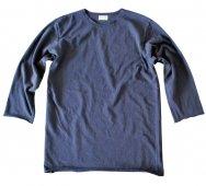 ムラ糸吊り編み天竺カットオフ七分袖T シャツ