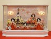 ひな人形ケース飾り 14-41  芥子5人 パールホワイトパノラマ