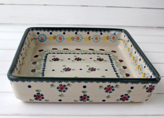 ポーリッシュポタリー(ポーランド食器)スクエアグラタン皿L|P151-IF45
