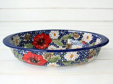ポーリッシュポタリー (ポーランド食器) オーバルグラタン皿M | P149-ALC105