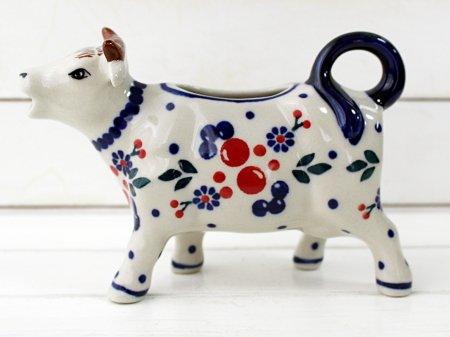 ポーリッシュポタリー (ポーランド食器) 牛のピッチャー120ml|D81-BL04