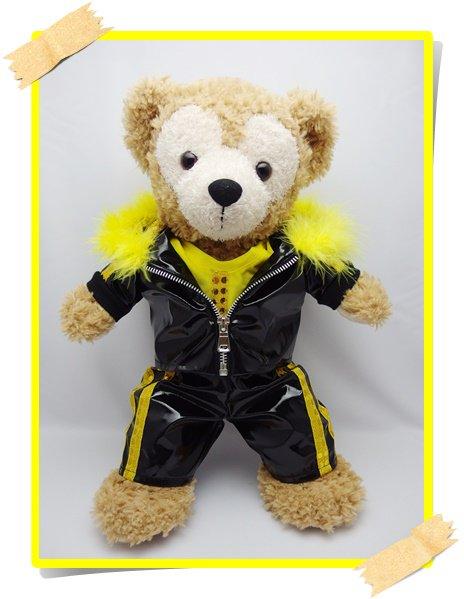 ダッフィー&シェリーメイ 衣装 Sサイズ (身長43cm)  黒ジャージ コスチューム 黄色 t kdn25